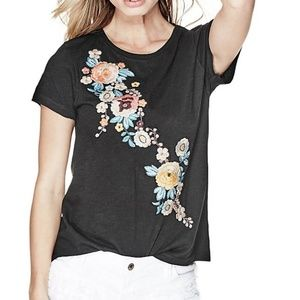 GUESS Black Embroidered Flower Tee Med NWT